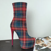 Tartan Ankle Platform Booties - Tajna Club