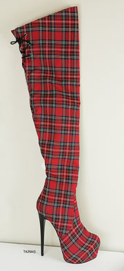 Tartan Thigh High Platform Boots - Tajna Club