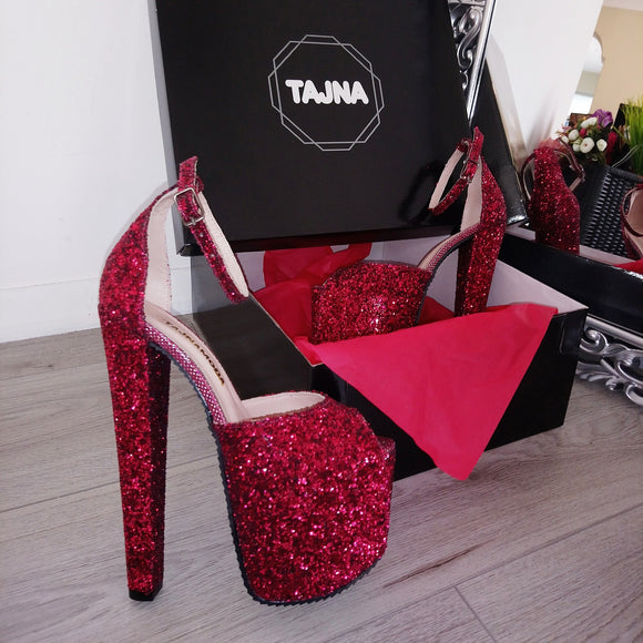 Claret Red Shiny 19 cm High Heel Platform Shoes - Tajna Club