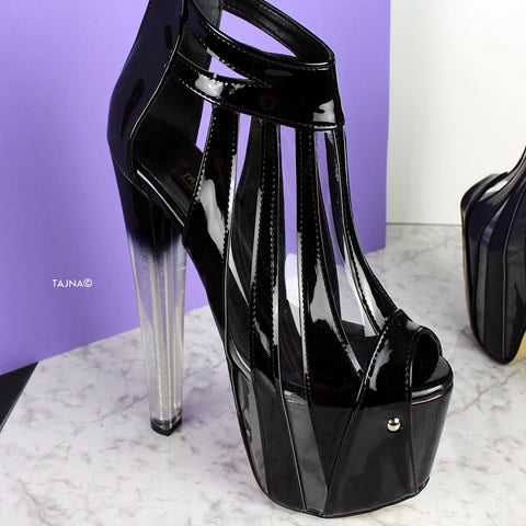 Black Transparent Strap Clear Thick Heels - Tajna Club