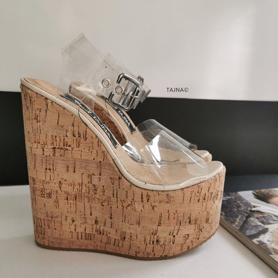 Transparent Strap Wedge Sandals - Tajna Club