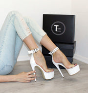 Transparent Strap White Patent Leather Platform Shoes - Tajna Club