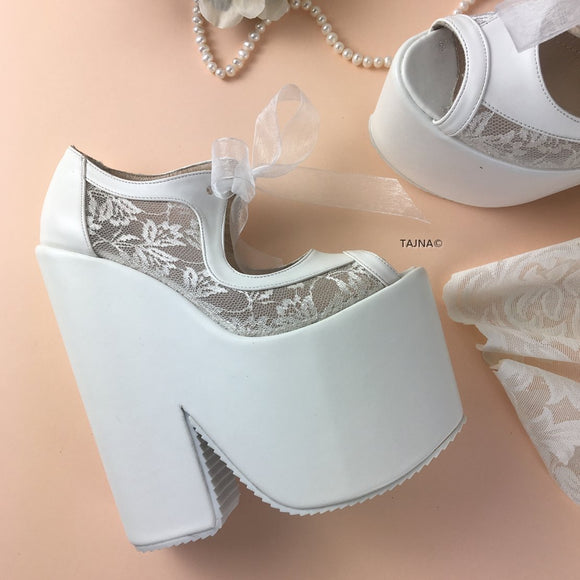Transparent Lace High Heel Wedding Wedges - Tajna Club