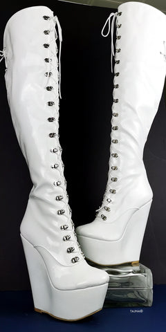 White Wedge Military Style Knee High Boots - Tajna Club