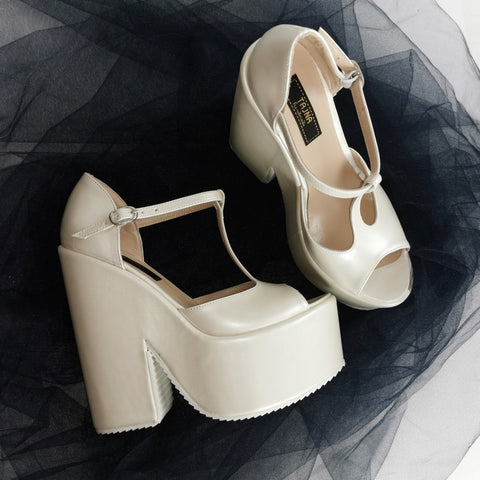 Ivory White Wedge Bridal Shoes - Tajna Club