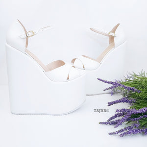 Ankle Cross Strap White Wedge Bridal Shoes - Tajna Club
