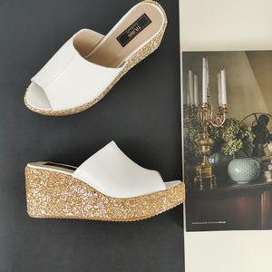 White Gold Glitter Wedge Mules - Tajna Club