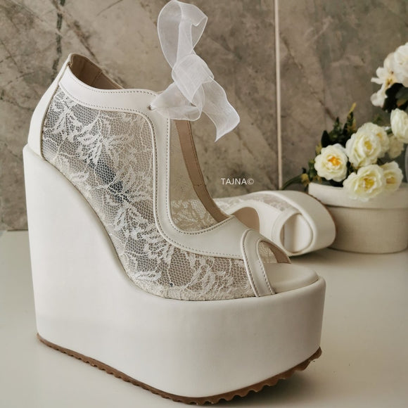 Lace  High Heel Wedding Wedge Shoes - Tajna Club