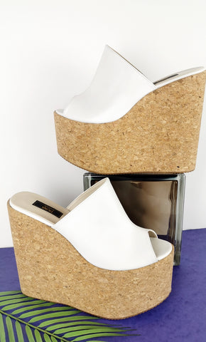 White Peep Toe Cork Wedge Mules - Tajna Club