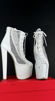 White Fishnet Lace Up Booties - Tajna Club