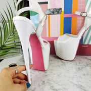 White Patent Pink Sole Ankle Strap Sandals - Tajna Club