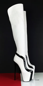 White Black Detail Knee High Boots - Tajna Club