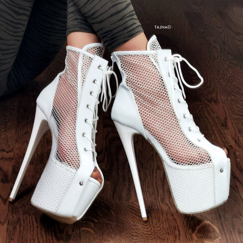 White Net Thin Heel Lace Up Booties - Tajna Club