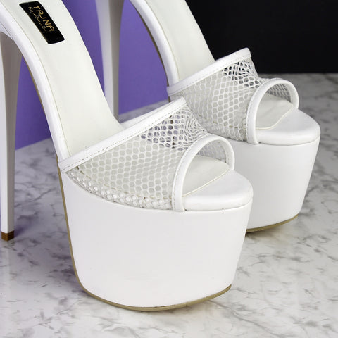 White Fishnet High Heel Mules - Tajna Club