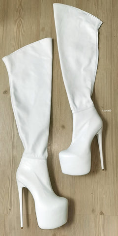 Genuine Leather White Thigh High Boots - Tajna Club