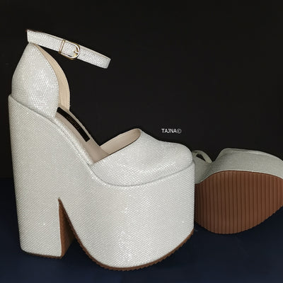 White Shimmer Ankle Wedge Platform Shoes - Tajna Club