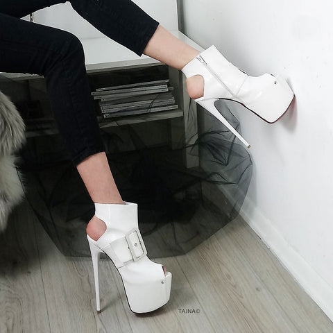 White Patent Belted Ankle Platform - Tajna Club