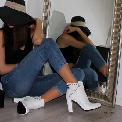 Biker White Suede Chunky Heel Ankle Booties - Tajna Club