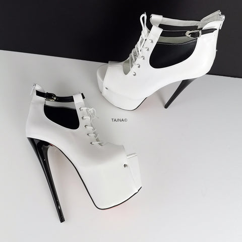 Peep Toe Black White Ankle Platforms - Tajna Club