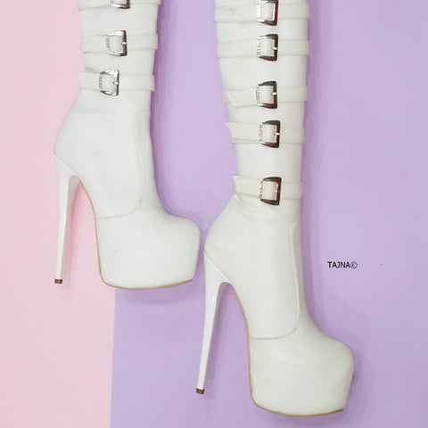White Belted Platform Knee High Boots - Tajna Club