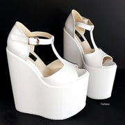 White T Strap Platform Wedge Shoes - Tajna Club