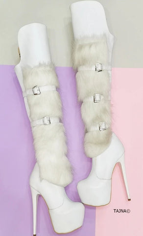 White Fur Detail Belted Platform Boots - Tajna Club
