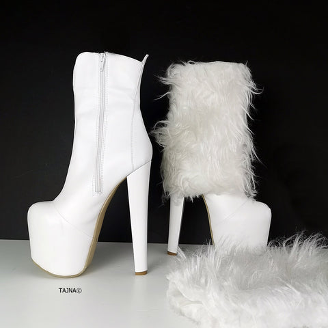 White Fur Heel Boots Dual Use - Tajna Club
