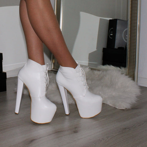 Lace Up White High Heel Platform Ankle Boots - Tajna Club