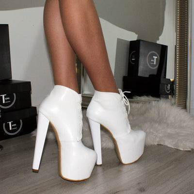 Lace Up White Platform Ankle Booties - Tajna Club