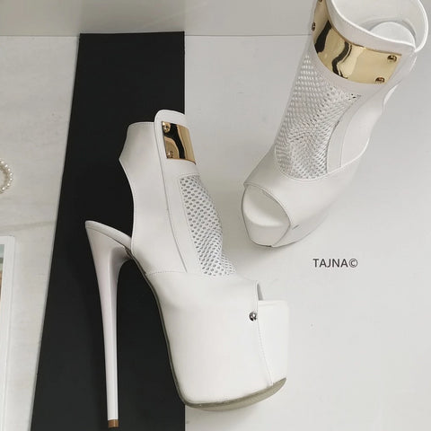 White Fishnet Platform High Heels - Tajna Club