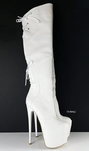 White Matte High Heel Over the Knee Boots - Tajna Club
