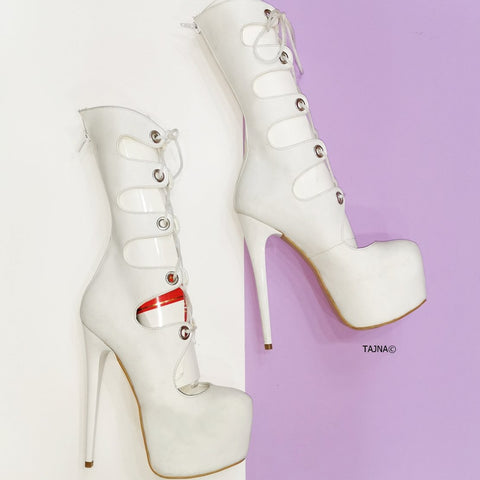 Gladiator Thin White Platform Lace Up Boots - Tajna Club