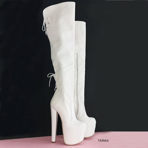 White Chunky Heel Knee High Boots - Tajna Club