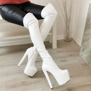 White High Heel Over the Knee Boots - Tajna Club