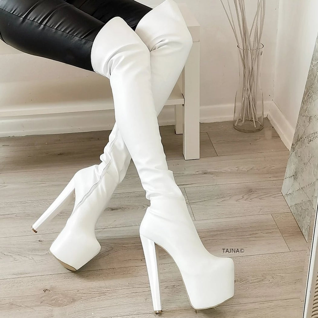 White High Heel Over the Knee Boots