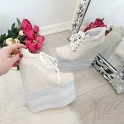 White Cream Lace Up Sport Wedge Platform Shoes - Tajna Club