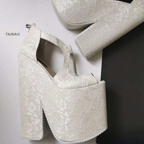 Bridal White Lace Mega Platform Wedges - Tajna Club