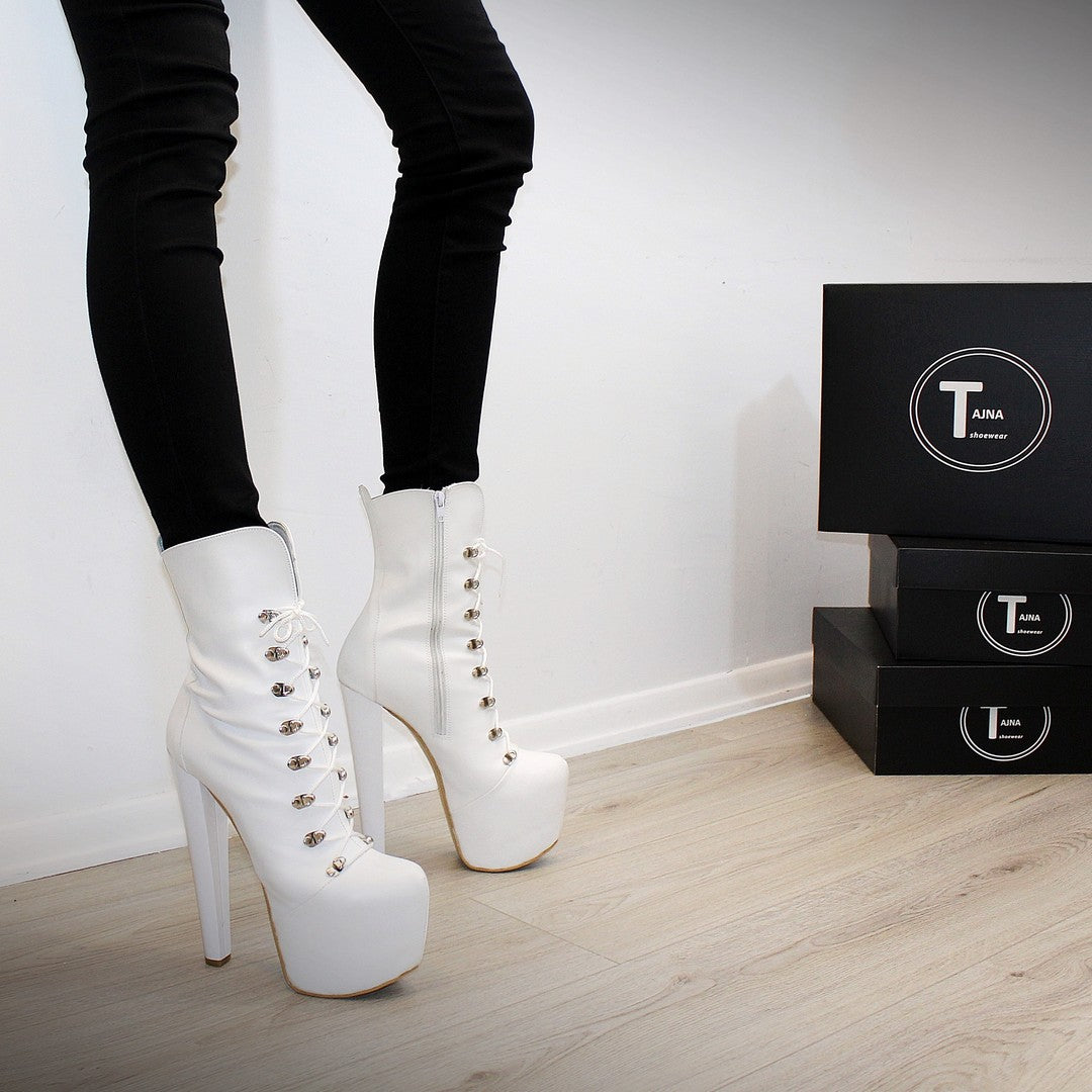 29aec852d42 White Military Style Platform Boots - Tajna Club ... High Heel Shoes Made in  ...