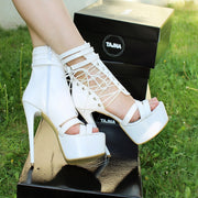 Lace Up White Patent High Heeled Platform Shoes - Tajna Club