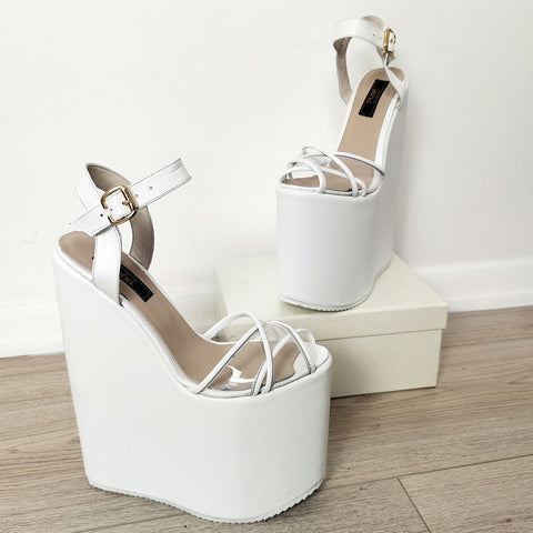 White Transparent Cross Strap Platform Wedges - Tajna Club