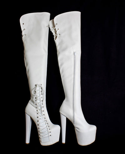 White Corset Over Knee Boots - Tajna Club