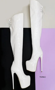White Patent Knee High Platform Boots - Tajna Club