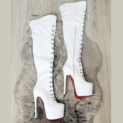 White Patent Lace Up Military Style Knee High Boots - Tajna Club