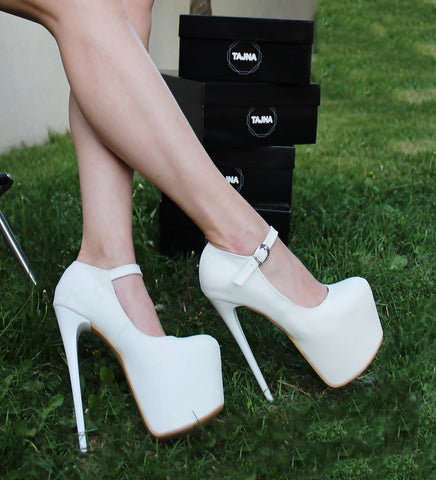 Belted Strap 19 cm Pencil Heel White Platforms - Tajna Club