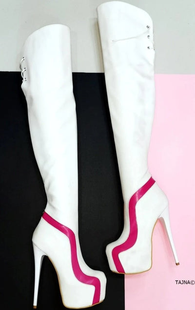 Ziggy White Pink Knee High Boots - Tajna Club