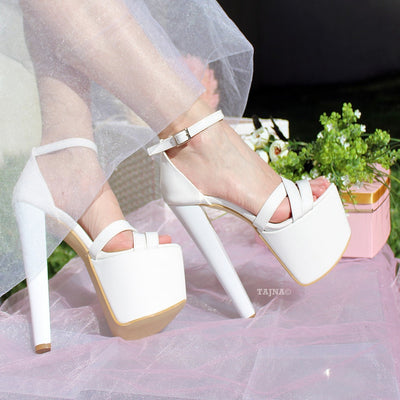Cross Strap White Patent Wedding Platform Shoes - Tajna Club