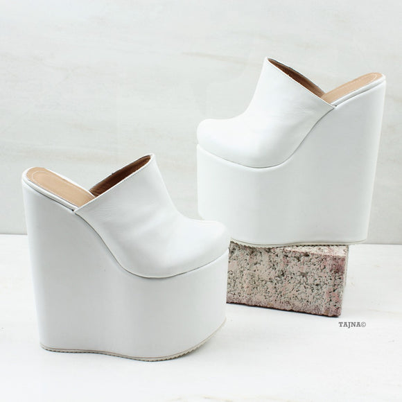 White Sabo Platform Heel Wedge Mules - Tajna Club