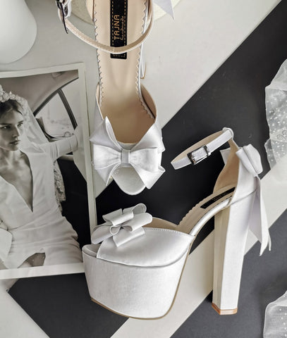 White Satin Ribbon Wedding Shoes - Tajna Club