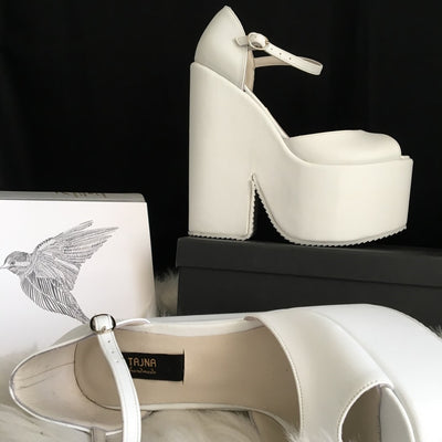Ankle Strap High Heel Bridal White Wedges - Tajna Club