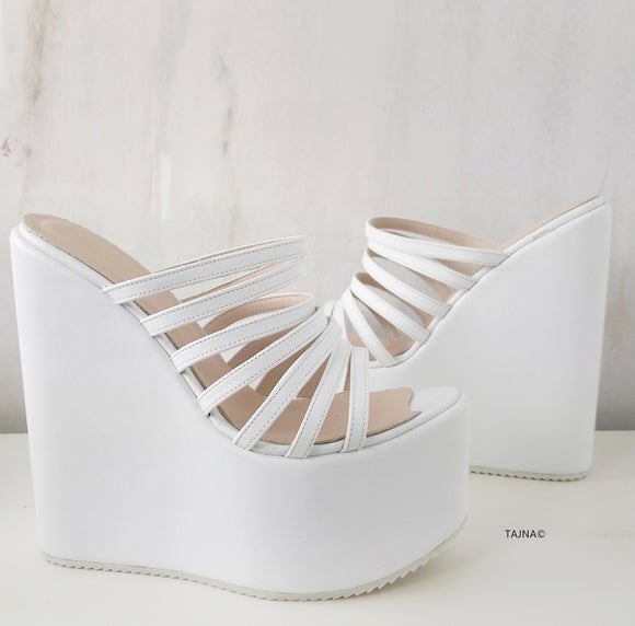 White Multi Thin Strap Wedge Mules - Tajna Club